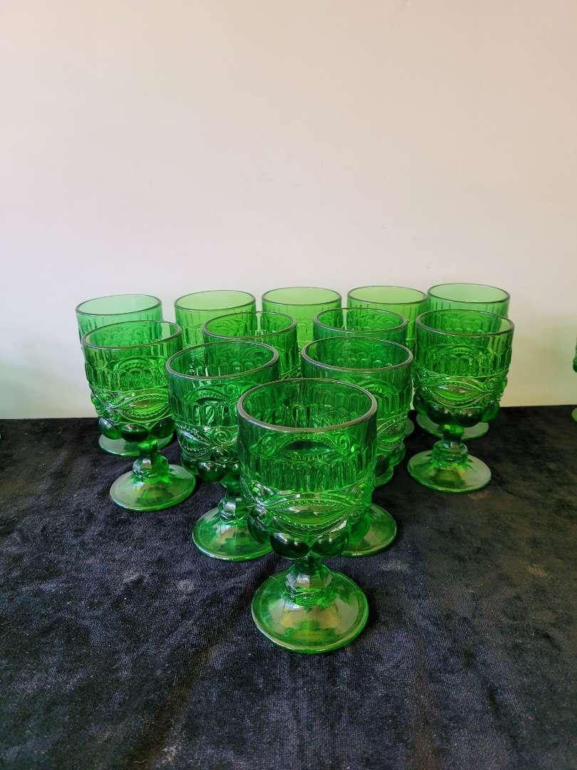 Lot # 132  (12) Vintage Eye Winker Emerald Green Goblets