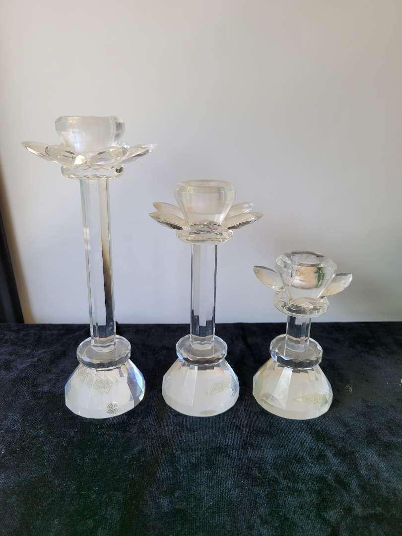 Lot # 133 (3) Shannon Handmade Crystal Candle Sticks