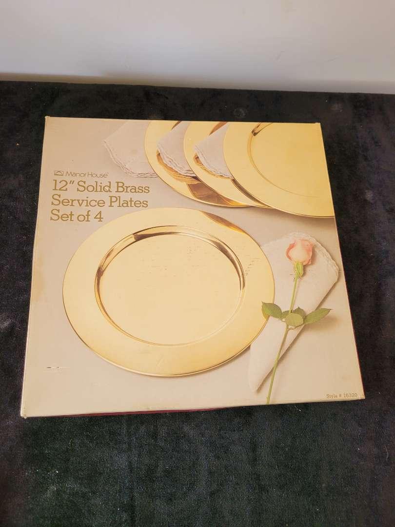 """Lot # 134 12"""" Solid Brass Service Plates- NIB"""