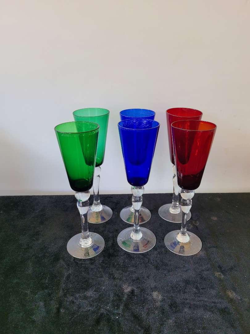 Lot # 137 (6) Colored Wine Glasses