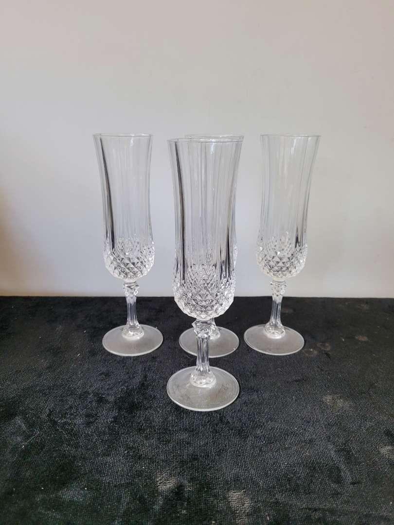 Lot # 140 (3) Crystal Champagne Flutes