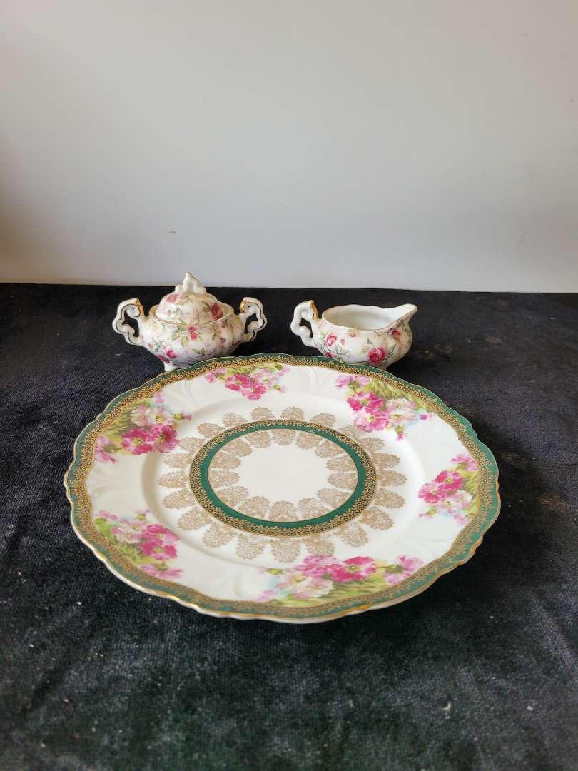 Lot # 142 Lefton China Sugar Bowl, Creamer & Plate