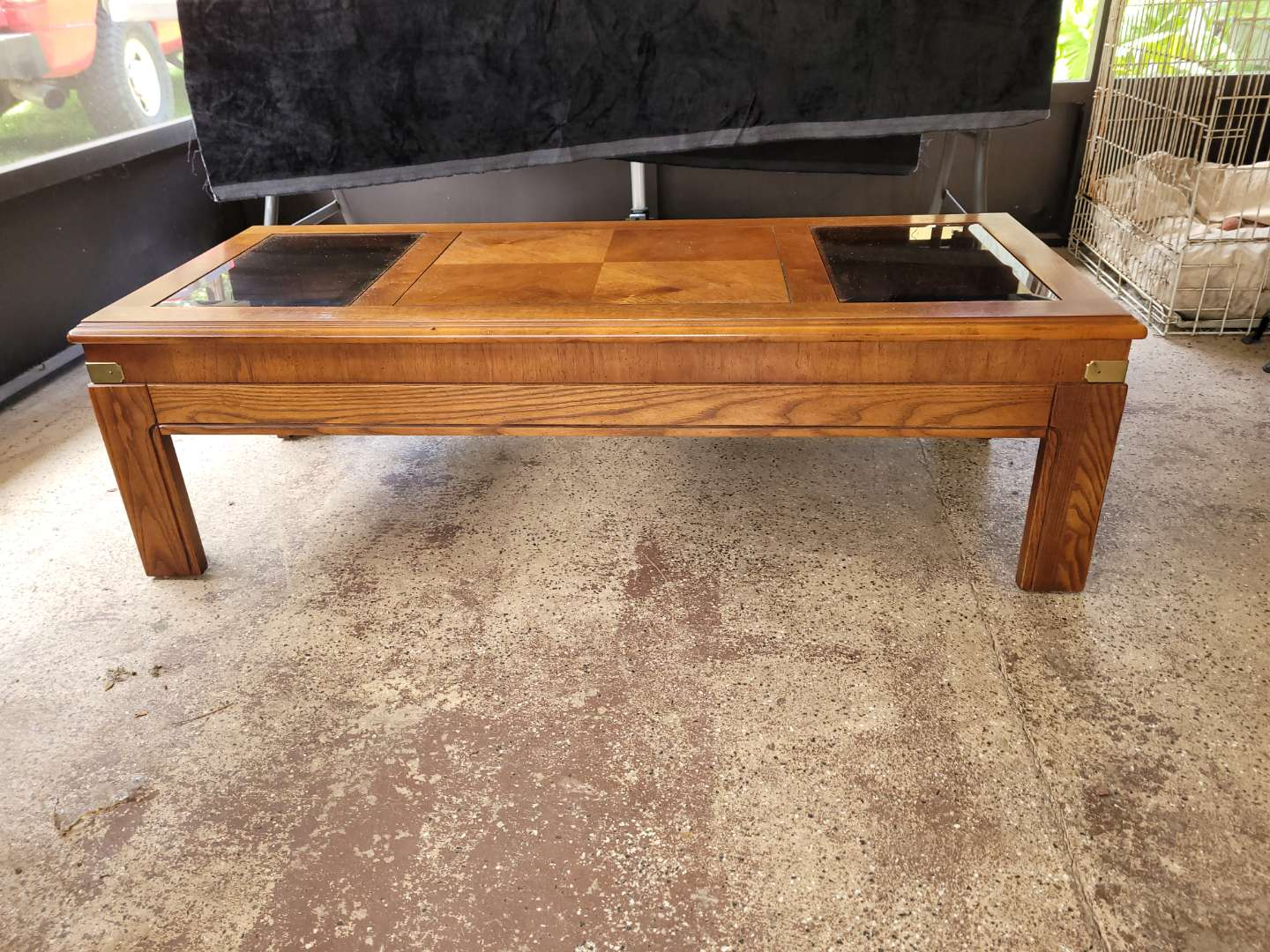 Lot # 151 Lane Furniture Wood Coffee Table w/ Glass Inserts & Brass Accents