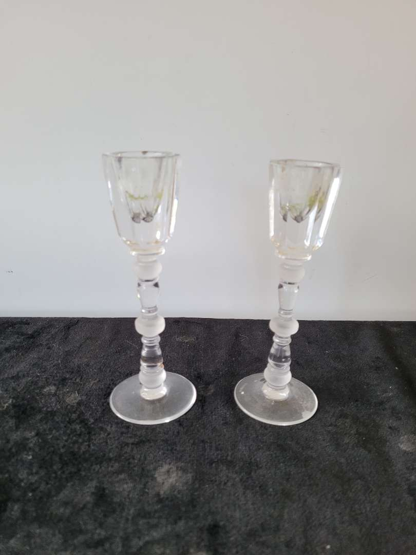 Lot # 153 Vintage Josiar Crystal Candle Holders w/ Frosted Accents