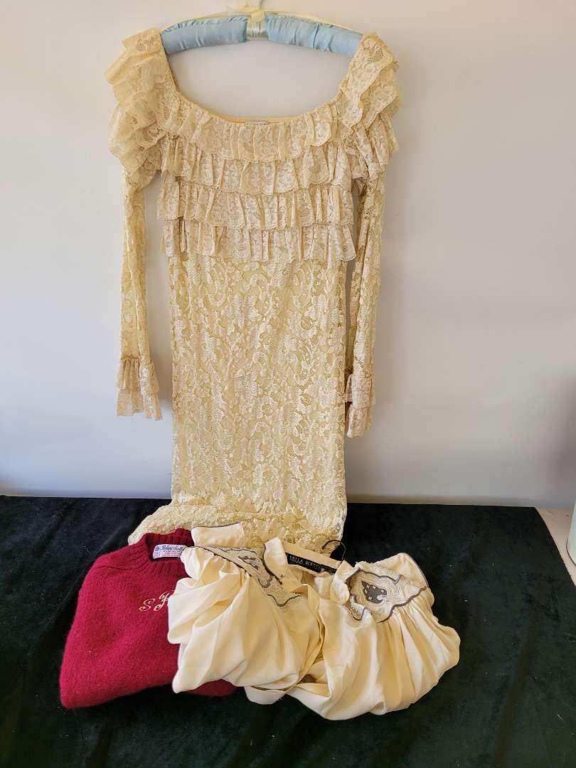 Lot # 159 Vintage Cloths - Lace dress, Wool Sweatshirt & Dress Shirt