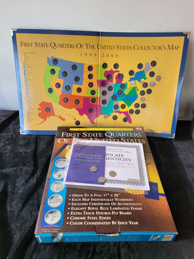 Lot # 188 Limited Edition 1st State Quarter Collectors Map w/ 8 State Quarters