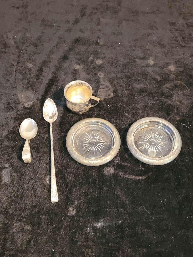 Lot # 197 Sterling Silver Spoons, Cup & 2 Coasters w/ Sterling Rims - TW 76.55g w/o coasters