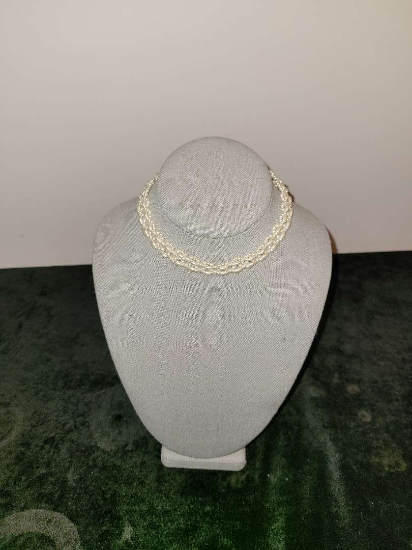 Lot # 203 Vintage Pearl Choker w/ Sterling Clasp