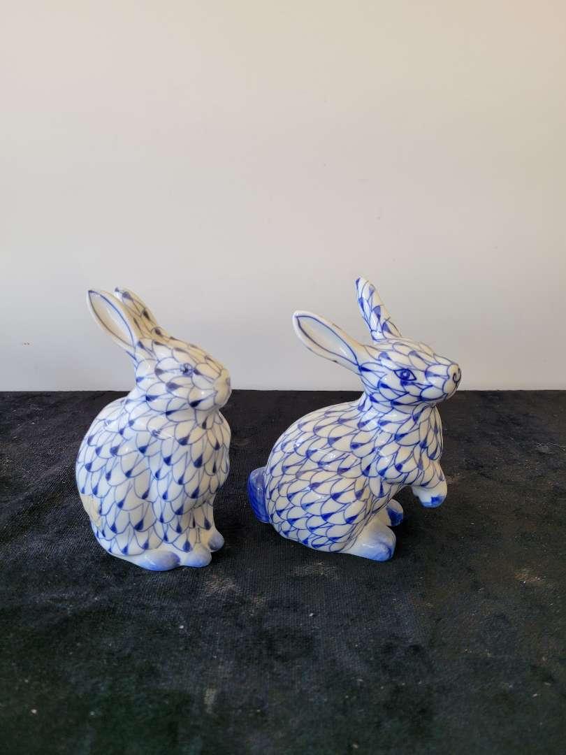 Lot # 208 Andrea By Sadek Blue Fishnet Ceramic Pottery Rabbits