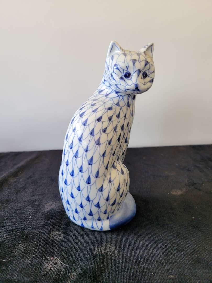 Lot # 209 Andrea By Sadek Blue Fishnet Ceramic Pottery Cat