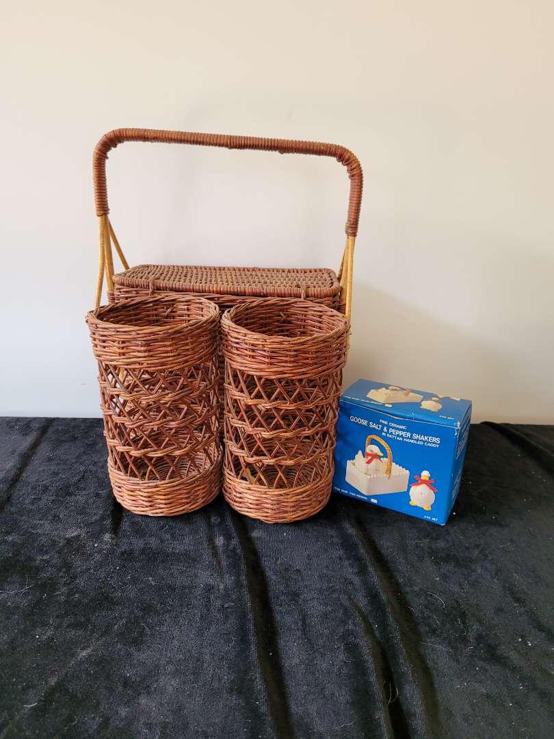 Lot # 212 Wicker Picnic Basket & Salt & Pepper Shakers