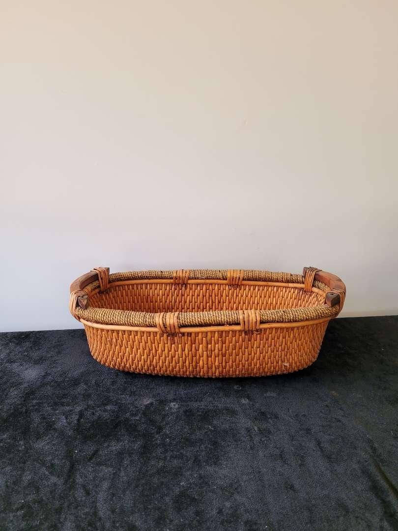 Lot # 214 Large Wood & Wicker Fruit Bowl