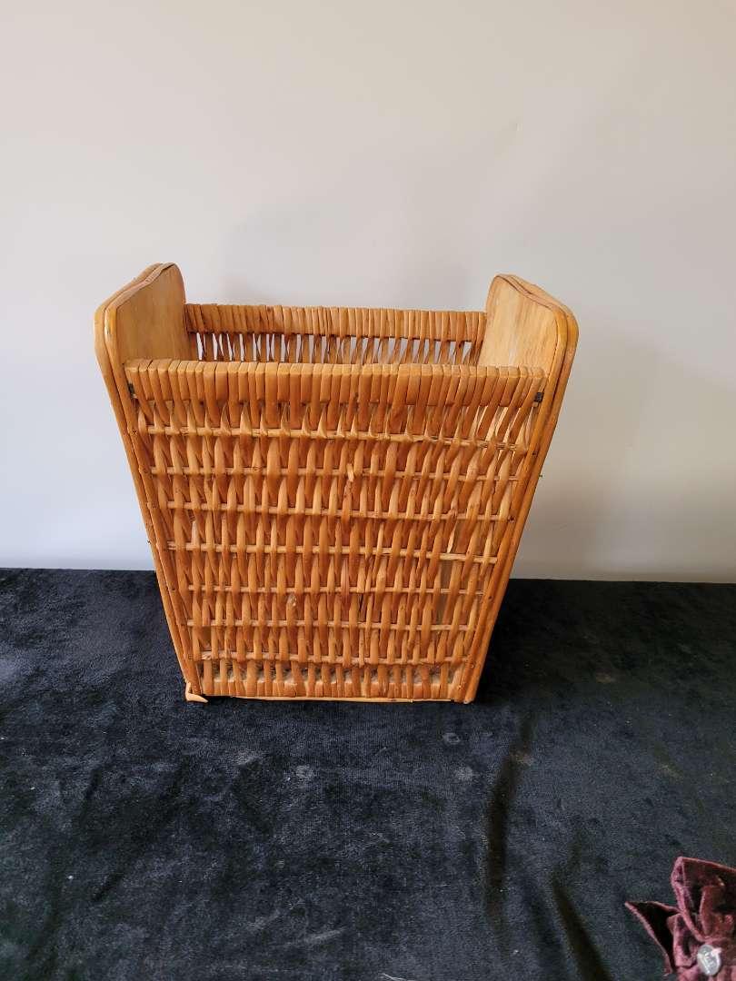 Lot # 215 Wood & Wicker Waste Basket