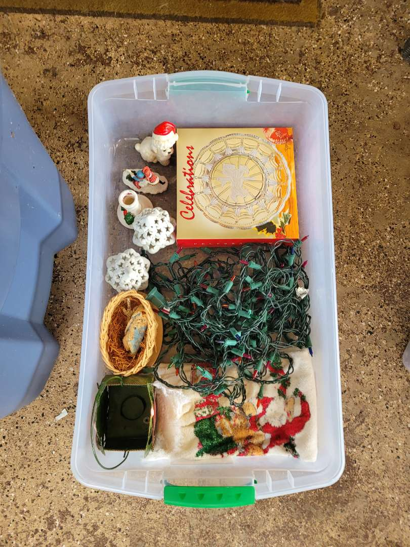 Lot # 231 Christmas Decorations w/ Storage Container