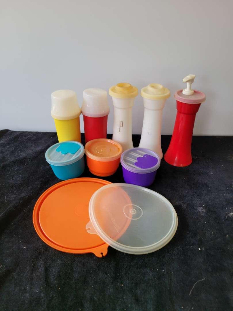 Lot # 274 Vtg Tupperware Salt & Pepper Shakers, Soap Dispenser & More