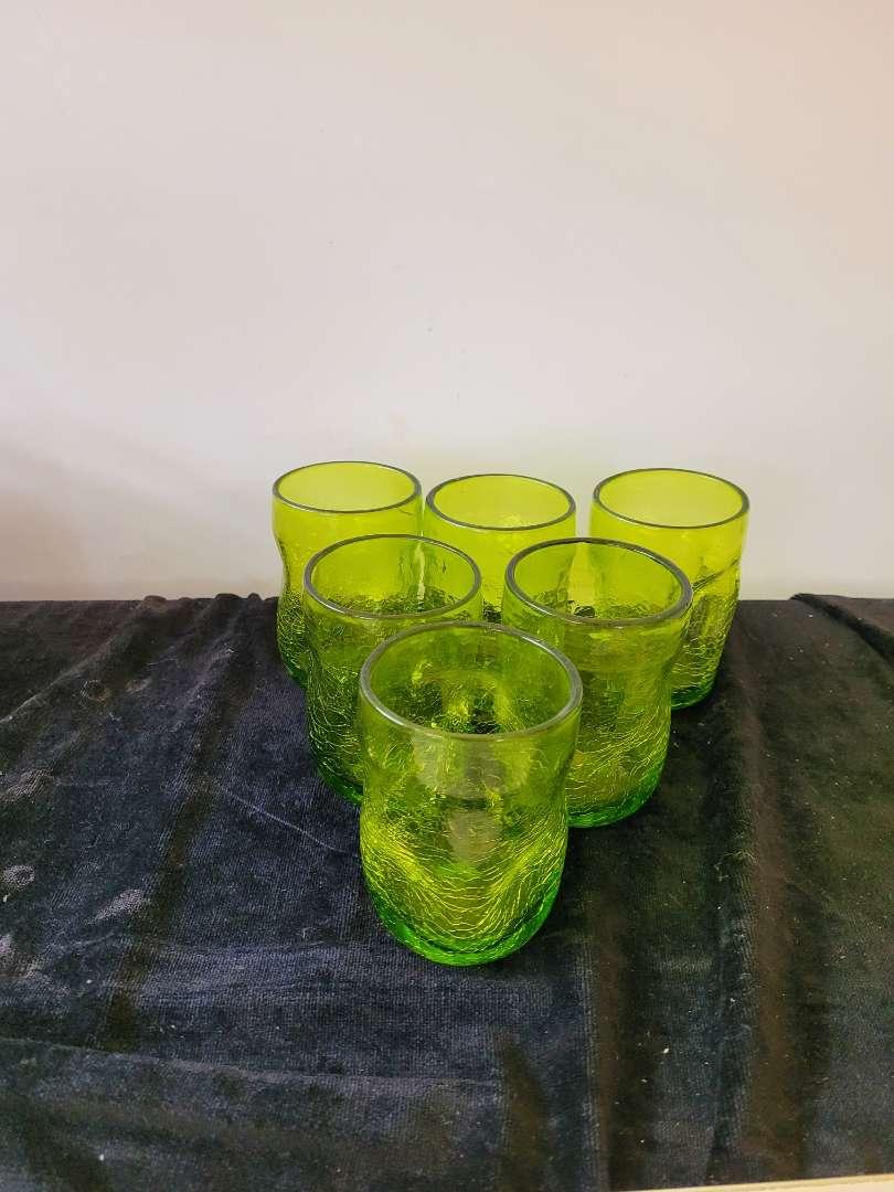 Lot # 323 (6) Vintage Green Drinking Glasses