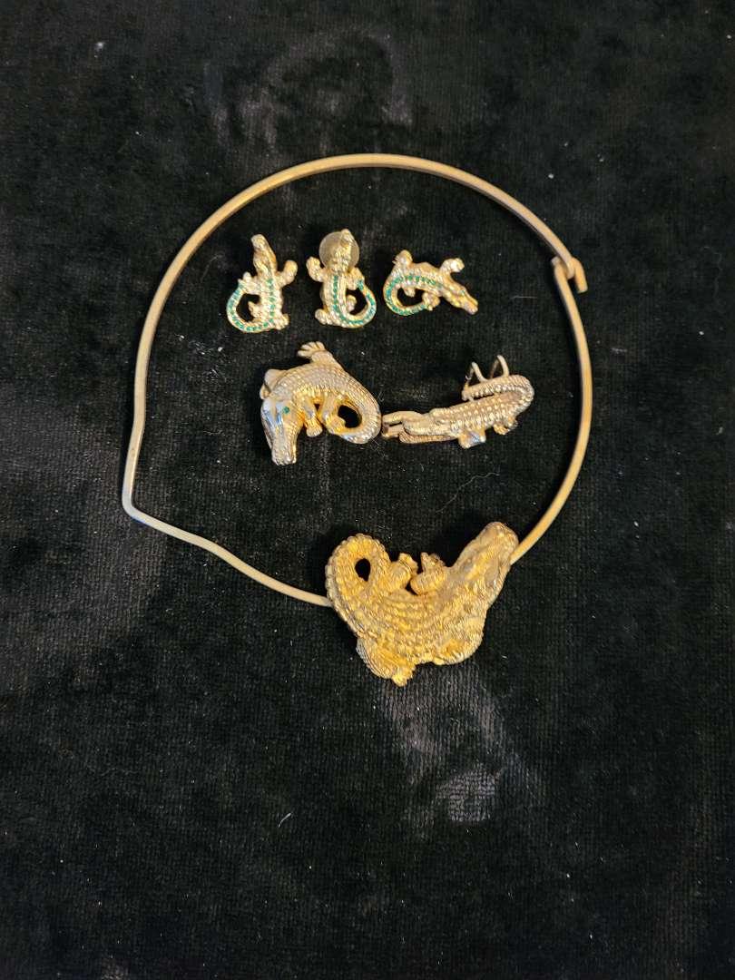 Lot # 331 Gator Pins, Necklace & Slide