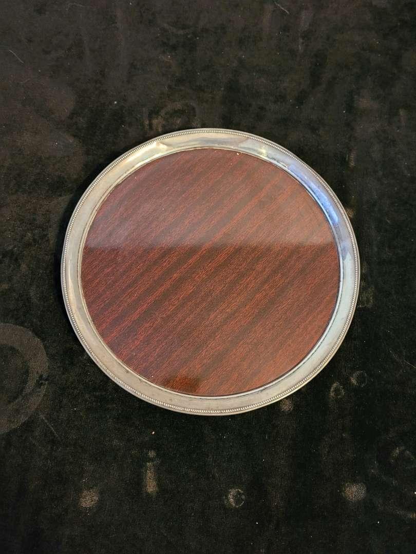 Lot # 334 Vintage Wood Tray w/ Sterling Silver Boarder