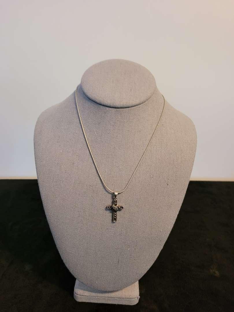 Lot # 341 Sterling Silver Cross & Chain