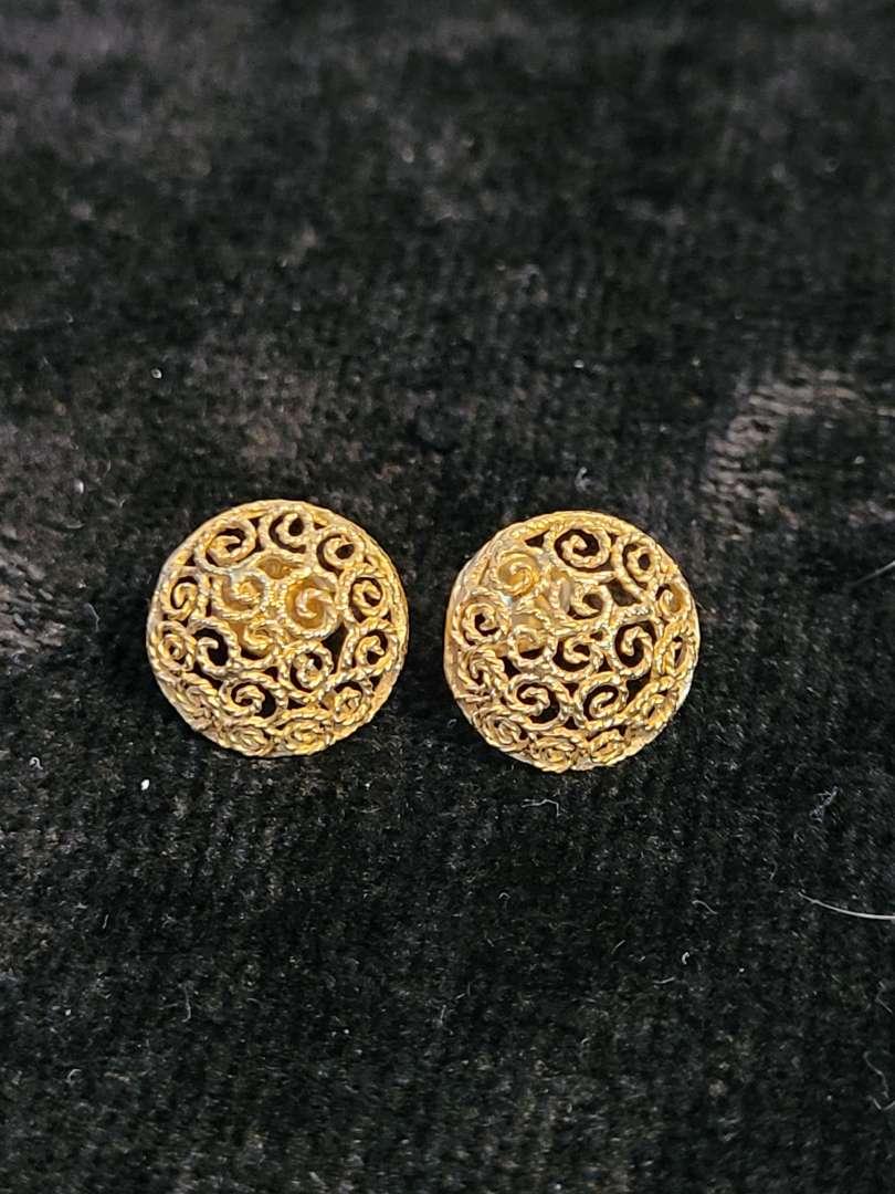 Lot # 342 14K Gold Earrings w/ backs - TW is 2.63g