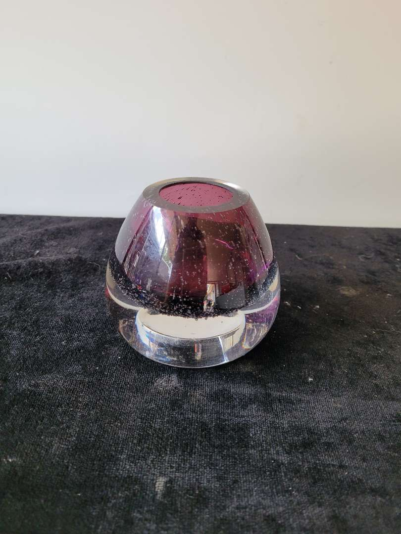 Lot # 349 Gorgeous Purple 2 way Blown Glass Candle Holder