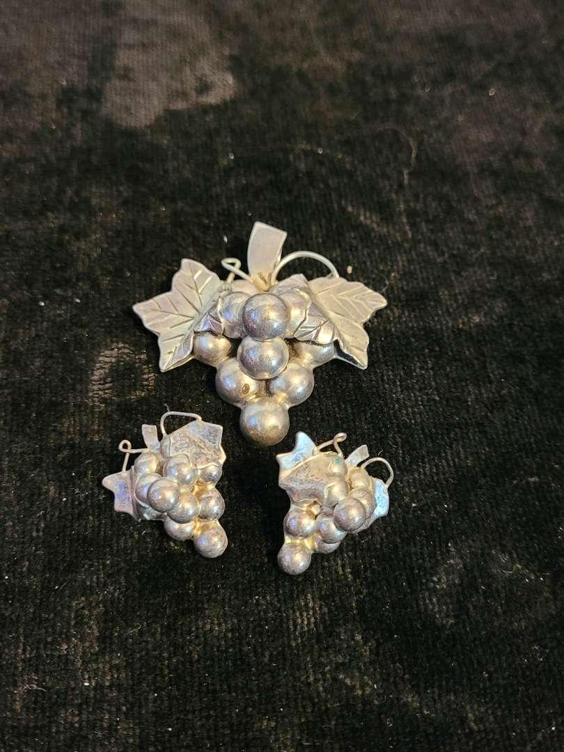 Lot # 381 Sterling Silver Earrings w/ Matching Pin