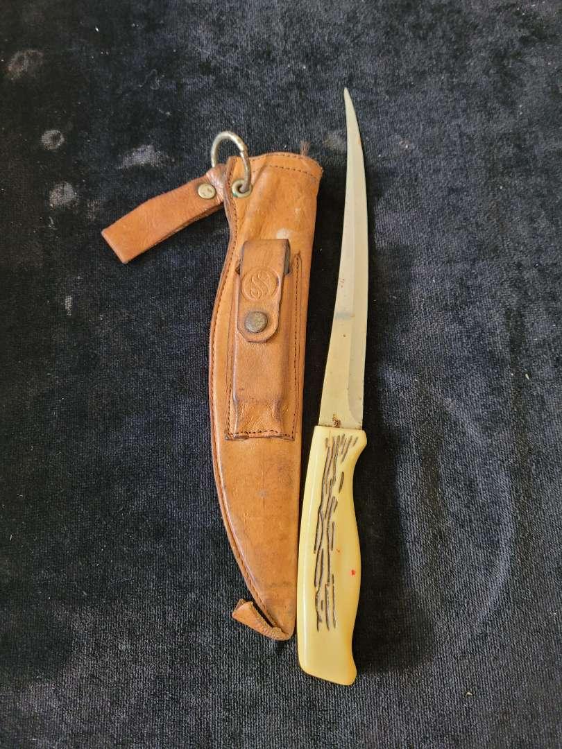 Lot # 395 Vintage Scubapro Filet Knife w/ Leather Sheath & Sharpener