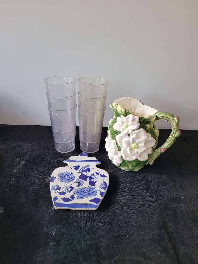 Lot # 399 (6) Cups, Water Pitcher & Spoon Holder