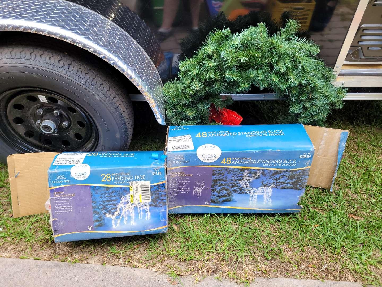 Lot # 400 Christmas Lighted Yard Decor & Wreath