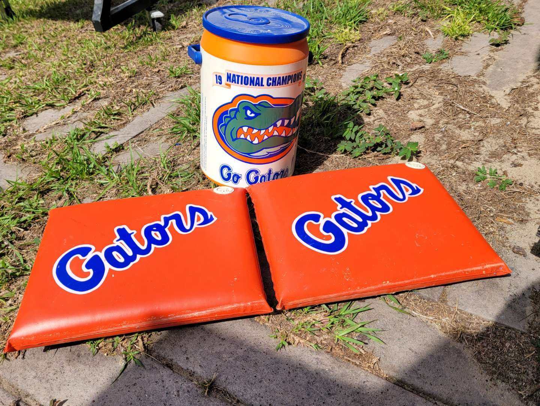Lot # 402 (2) Florida Gator Cushions & Vintage Cooler