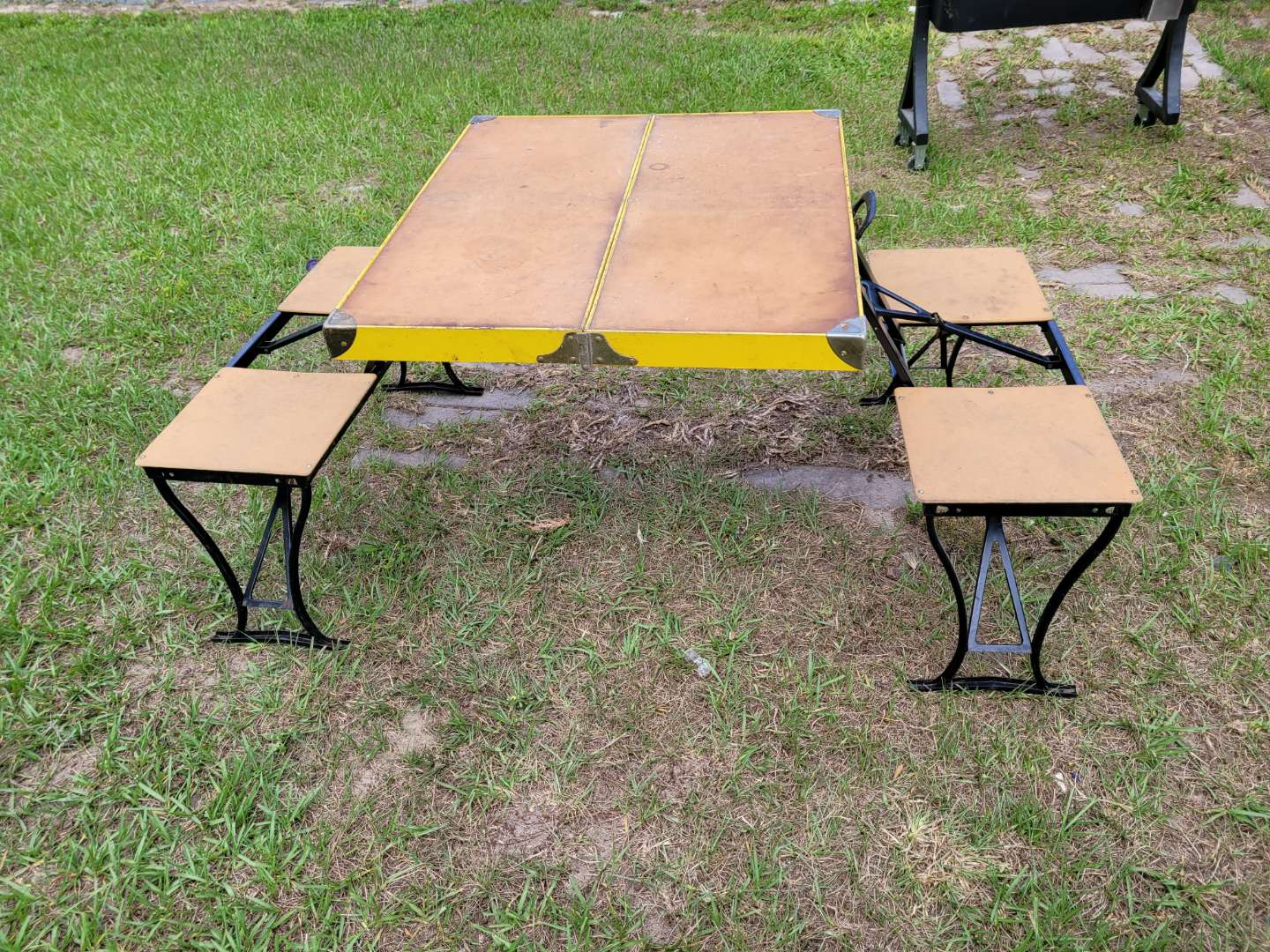 Lot # 404  Vintage Yellow Handy Folding Picnic Table and Chair Set - Milwaukee Stamping Co