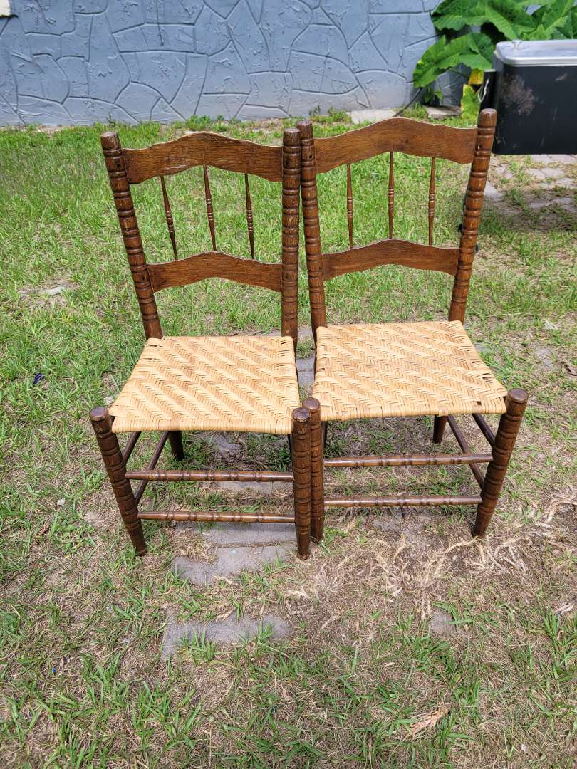 Lot # 410 (2) Vintage Wooden Chairs