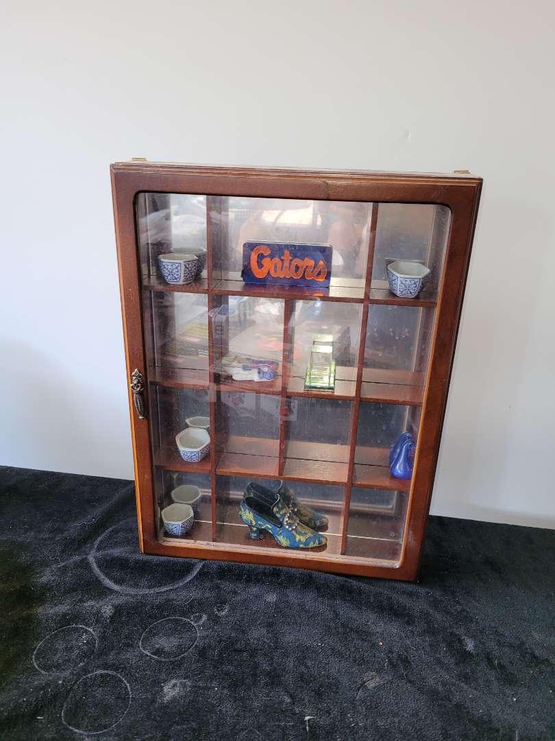 Lot # 419 Wood Wall Display Box w/ Mirrored Back & Trinkets