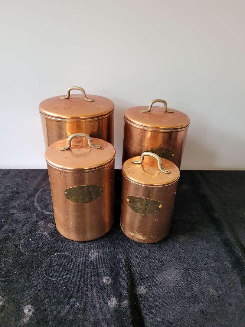 Lot # 434 Vintage De La Cuisine Copper Clad Nesting Canisters w/ Brass Labels