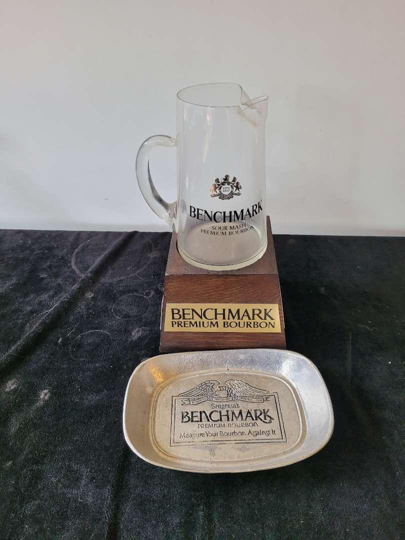 Lot # 440 Benchmark Premium Bourbon Pitcher on Stand & Pewter Dish