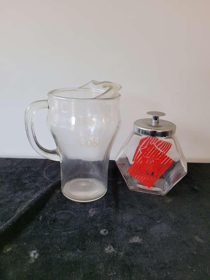 Lot # 451 Glass Coke Pitcher & Candy Jar