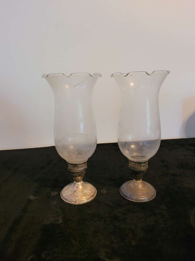 Lot # 462 Sterling Silver Candle Holders w/ Glass Covers