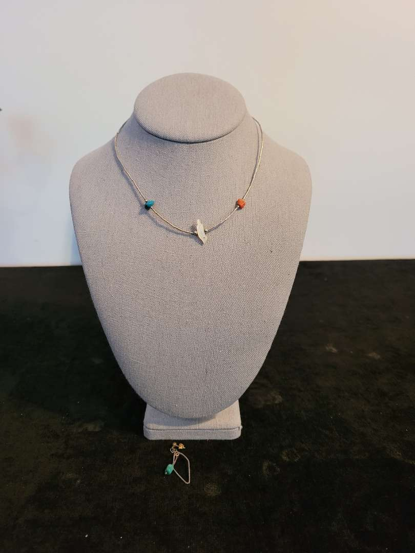 Lot # 465 Sterling Silver Single Strand Fetish Necklace & Earring