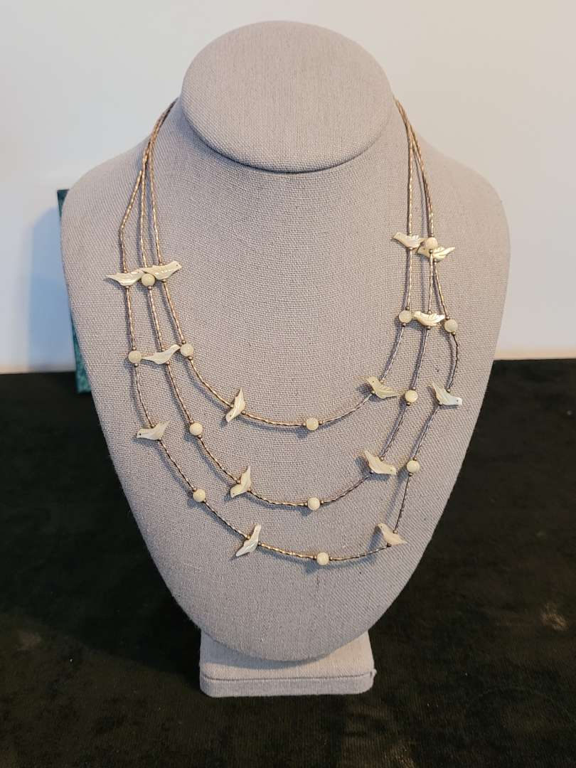 Lot # 466 Beautiful Sterling Silver Native American 3 Strand Fetish Necklace