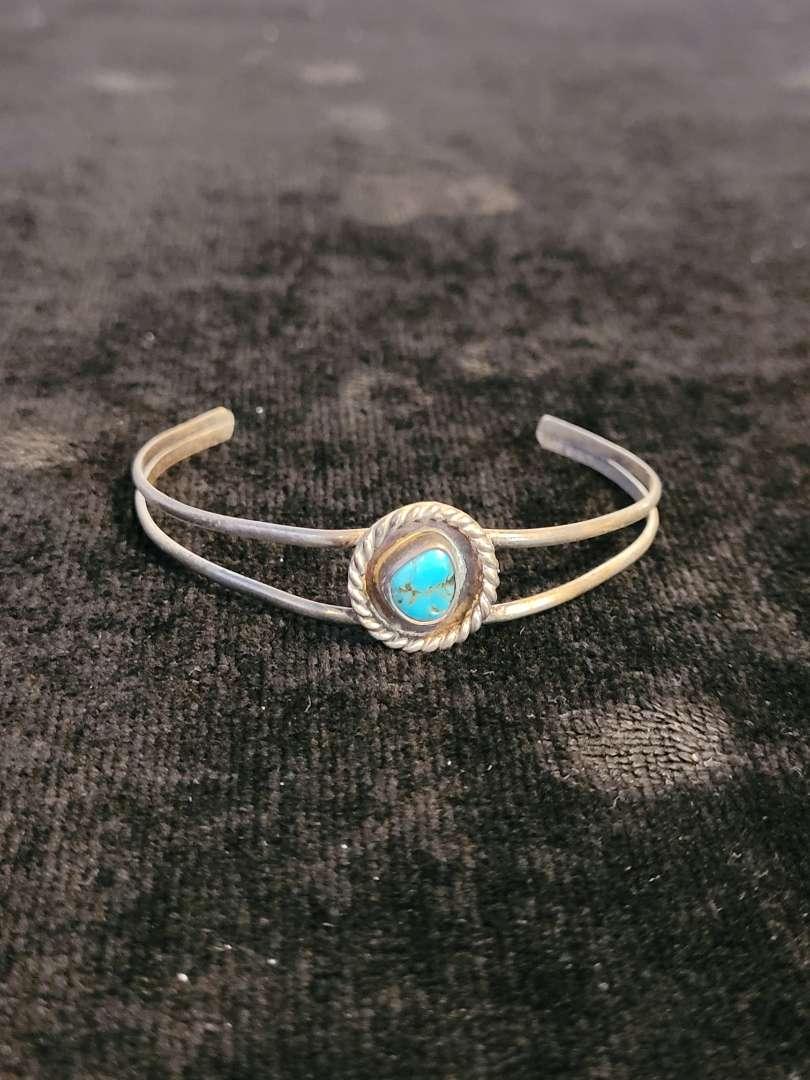 Lot # 467 Sterling Silver Bracelet w/ Turquoise Stone