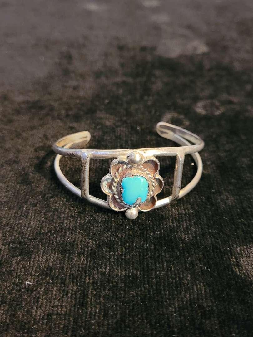 Lot # 468 Sterling Silver Bracelet w/ Turquoise Stone