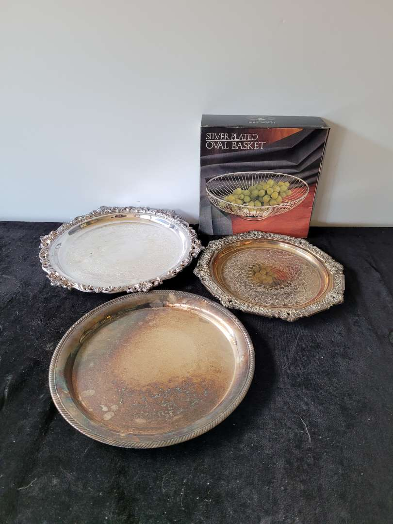 Lot # 476 (3) Silver Plated Trays & Basket