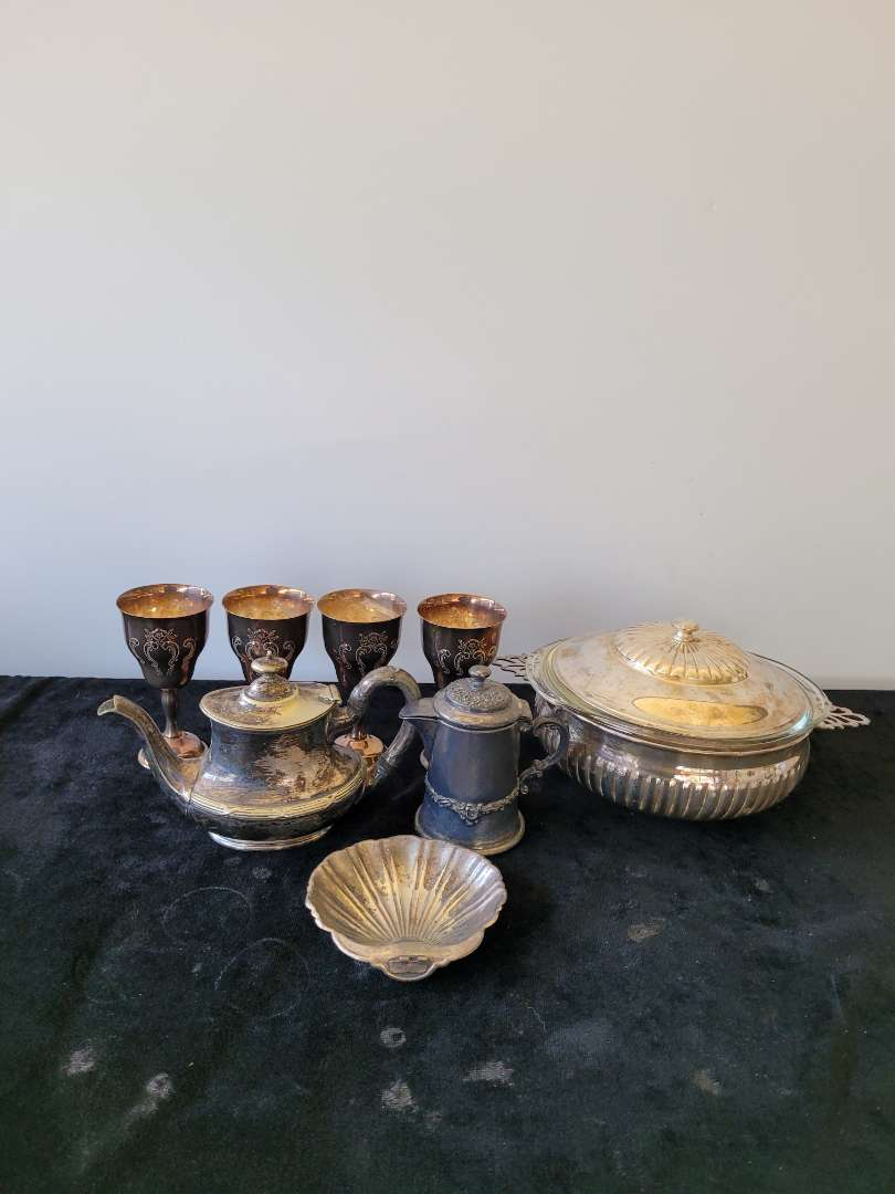 Lot # 480 Silver Plated Cups, Soul Tureen, Tea Kettle & More