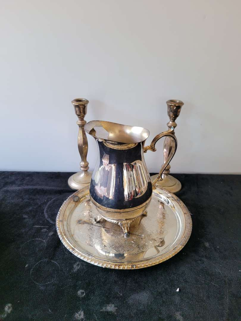 Lot # 481 Silver Plated Candlesticks, Tray & Pitcher
