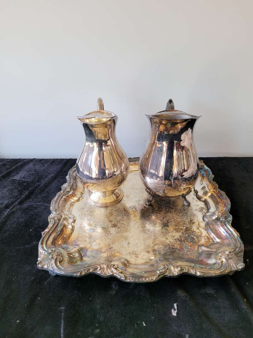 Lot # 482 (2) Silver Plated Pitchers & Tray