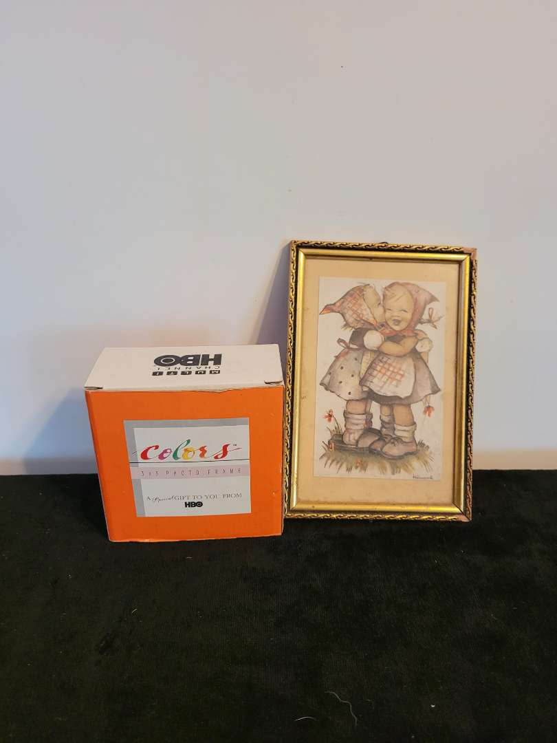 Lot # 490 Vintage Hummel Drawing Print & Small Picture Frame
