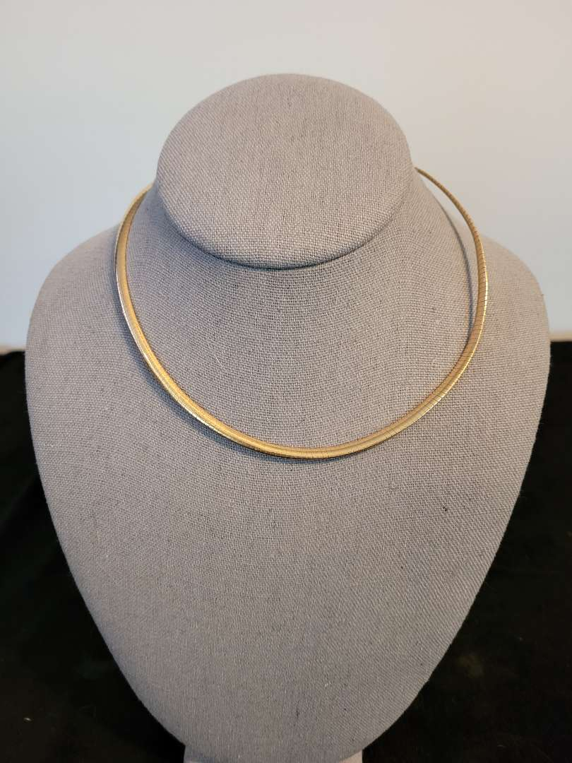 Lot # 497 14K Gold Omega Necklace - Signed MOD DFP - TW is 16.14g