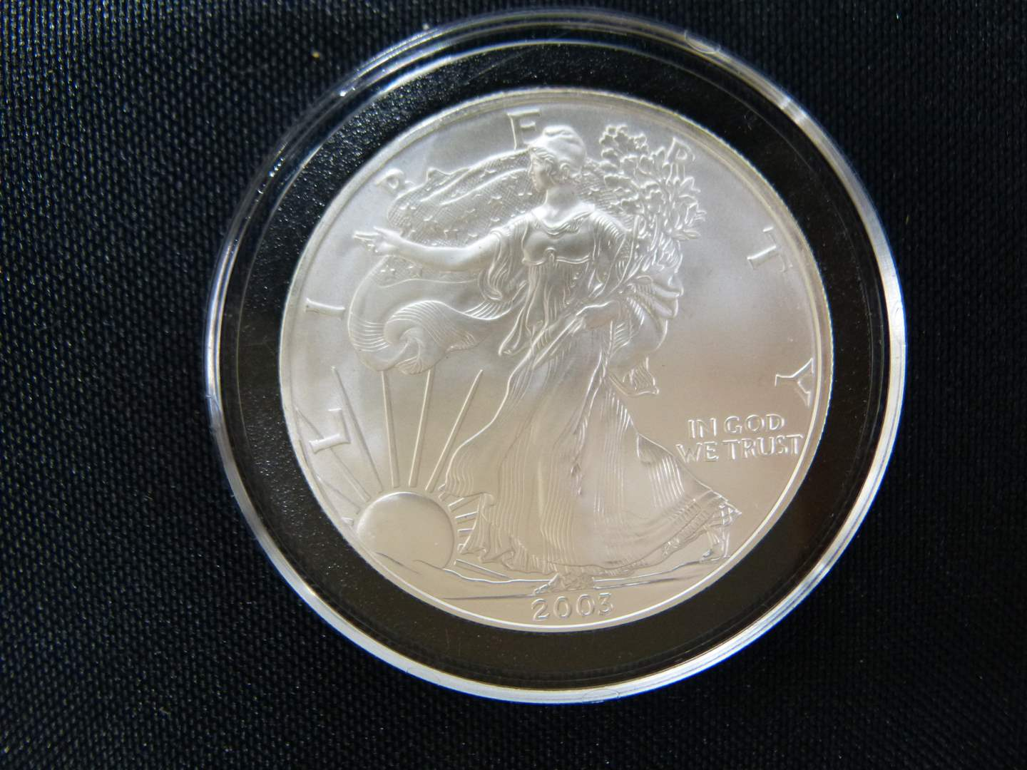 Lot # 4  2003 .999 One Ounce Eagle uncirculated  condition w/protective case (main image)