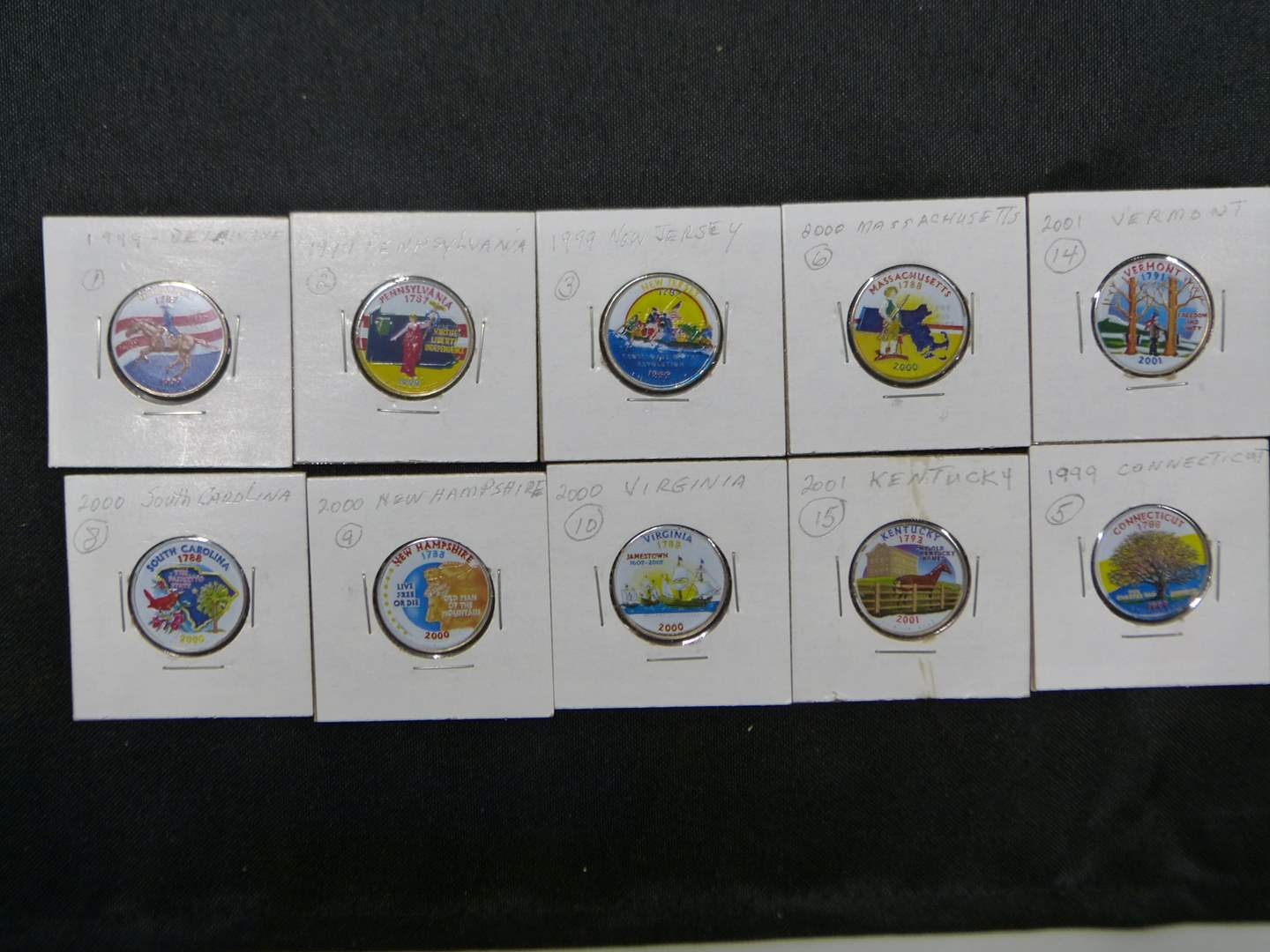 Lot # 13  Mixed lot of painted US state quarters