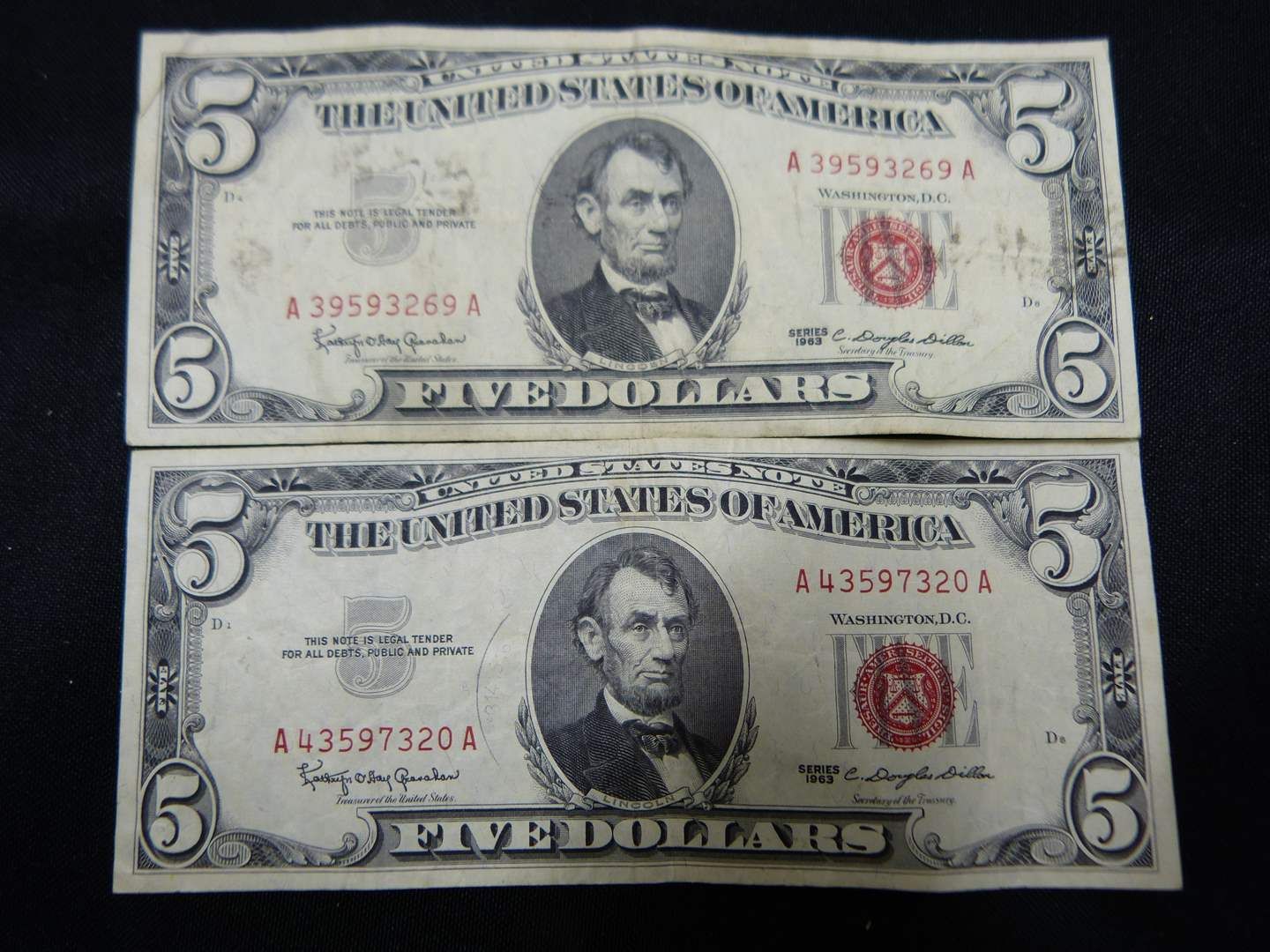 Lot # 16  2 $5.00 Red Notes (main image)